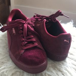 Burgundy Puma Suede With Gold Detailing